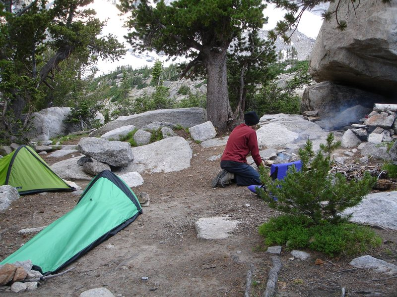 Campsite in The Winds. <br> <br> This was my first real backpacking trip, and I can't wait until the next one. But next time...we bring the fishing poles. Mmmm,mmm fresh trout....<br> <br>