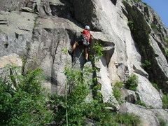 Rock Climbing Photo: Teresa leading pitch 2