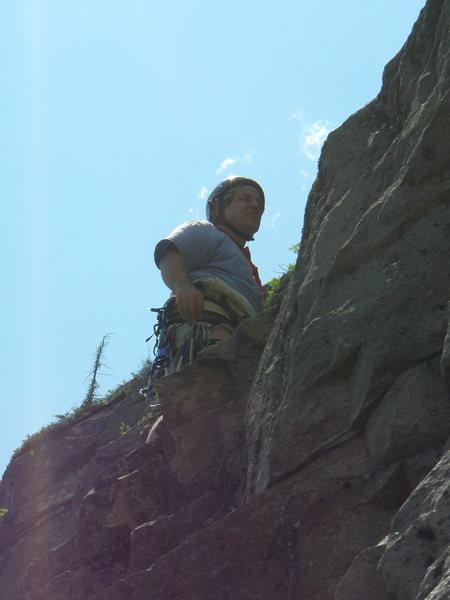 Teresa photographer top of short south upward traverse pitch 4