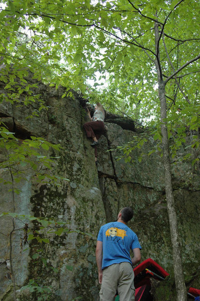 Rock Climbing Photo: Nearing the top of Mrs. Shortarm.  The start of Mr...