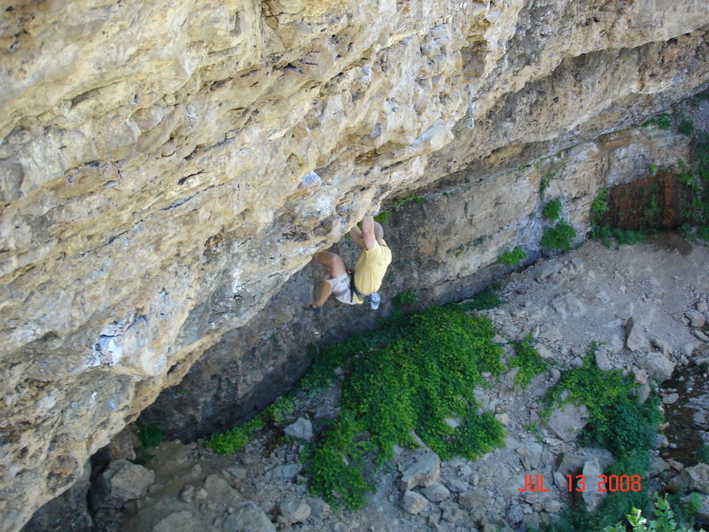 Rock Climbing Photo: Just getting out of the crux of Cypher 2. Tryng to...