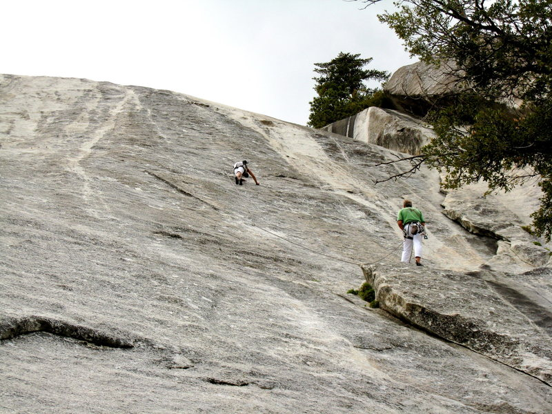 Rock Climbing Photo: Starting the traverse on pitch one.  Photo: Robs M...