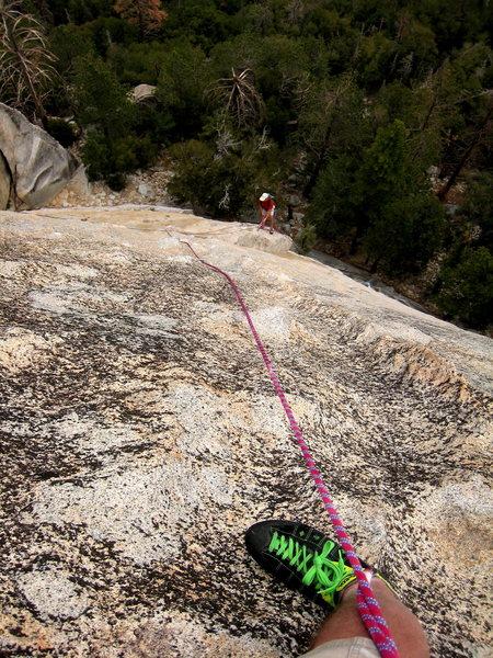 Rock Climbing Photo: Rick Accomazzo waits at the bottom of the dike.  P...