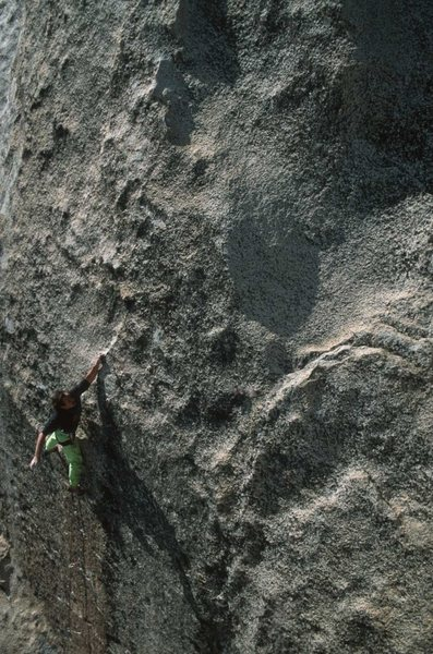 Completing the crux during the FA.  Photo: Kevin Powell