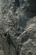 Rock Climbing Photo: Completing the crux during the FA.  Photo: Kevin P...