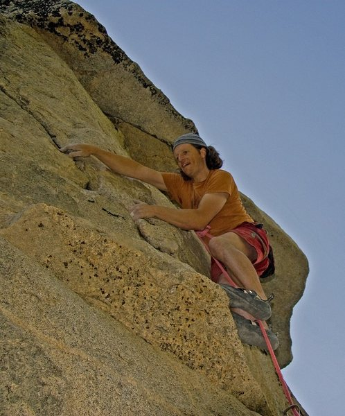 Rock Climbing Photo: Committing to the balancy moves up to the 2nd bolt...
