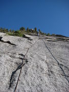 Rock Climbing Photo: Brian up near the top of the big cool slab pitch.