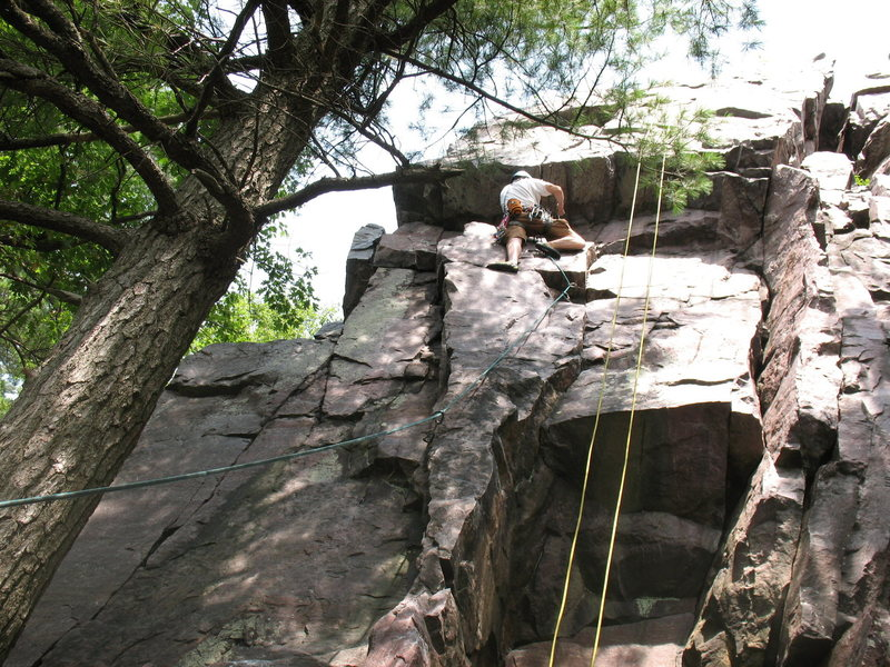 Rock Climbing Photo: John K leading Roger's Roof. Right before the crux...