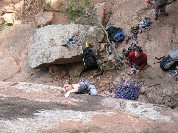 Rock Climbing Photo: Beginning of Crazy Alice, my first Trad lead. Not ...