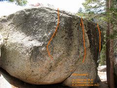 Rock Climbing Photo: Dike Boulder photo/topo, Tramway
