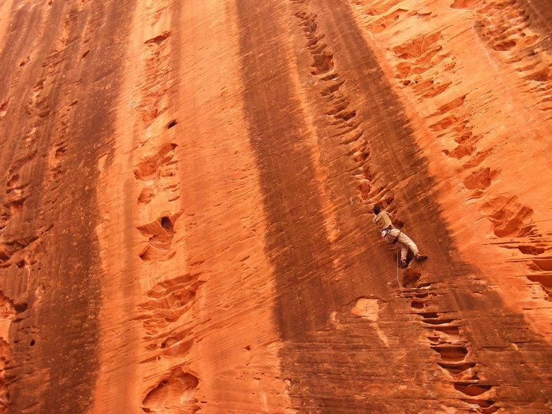 Rock Climbing Photo: Mario Fonzo on Namaste, Kolob Canyon Zion.