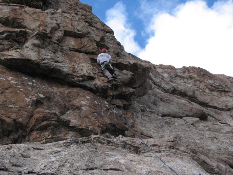 Tony Horness on the steep pumpy section entering the crux on his FA!