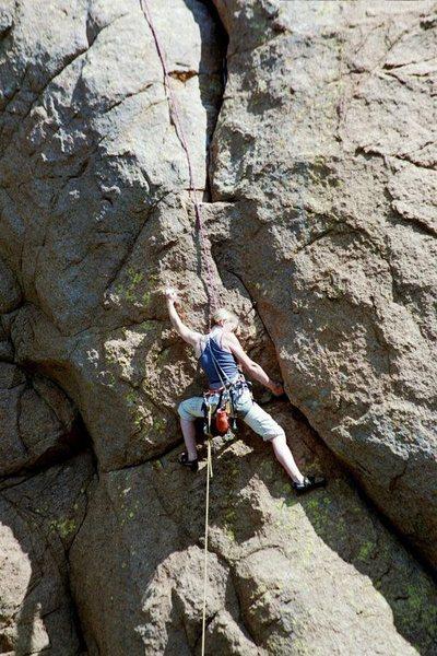 Rock Climbing Photo: Fuson's Folly, the crux. Kate Chandler