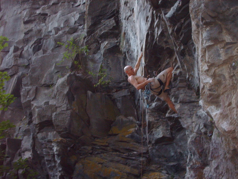 Jamie gunning for the second ascent of Mrs. Norris