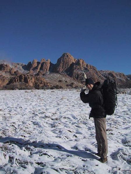 Sheepshead.  Cochise Stronghold.  Approaching Absinthe of Mallet in the snow.  December, 2001.