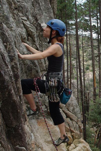 Rock Climbing Photo: My first lead climb