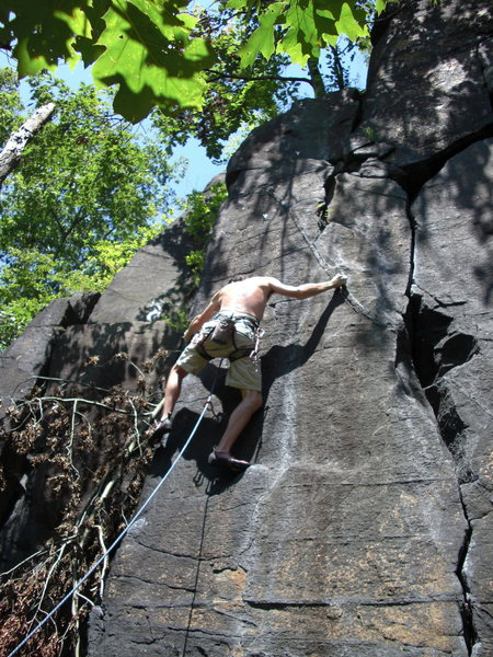 Rock Climbing Photo: pulling into the start of the crux