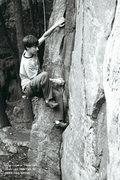 Rock Climbing Photo: Dylan stabbing for a foothold in the layback.  It ...