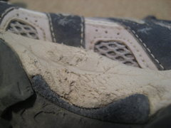 Rock Climbing Photo: Some slight damage on the TNF trail running shoes.