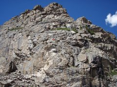 Rock Climbing Photo: Hiamovi Tower The Red Dot is the approximate locat...