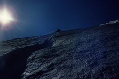 Rock Climbing Photo: Chip Ruckgaber leading the crux pitch of D7. July ...