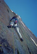 Rock Climbing Photo: On the thin section of the last pitch.  Photo by C...