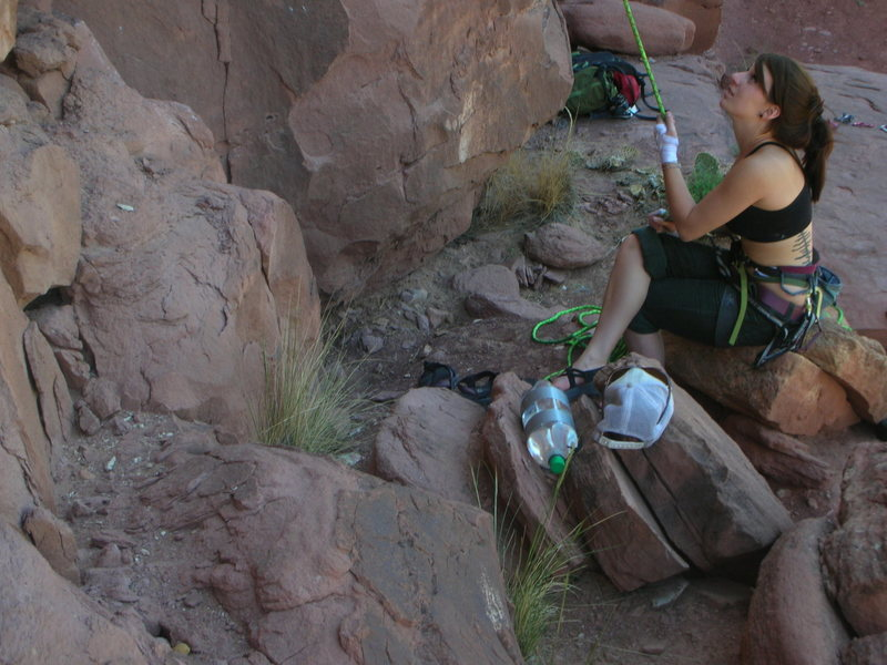 Belaying at the Creek.<br> <br> ...All indian creek shots are butt shots.