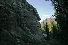 Rock Climbing Photo: The crag at McLeod Lake with Mammoth Mountain in t...