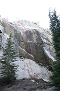 Rock Climbing Photo: A Topo for the Highlander section at McLeod Lake