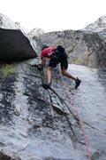 Rock Climbing Photo: Finishing the crux of Immortal, 5.7