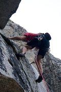 Rock Climbing Photo: Starting the crux of Immortal, 5.7
