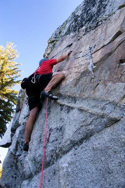 Rock Climbing Photo: Making the crux rock over on Cool For Cats, 5.10b
