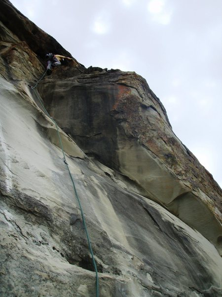 Second lead ascent of Exilis Dihedral, August 14, 2008.