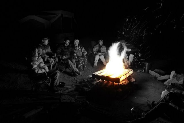 Campfire with friends in Indian Creek