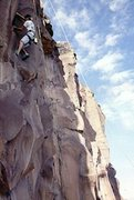 Rock Climbing Photo:  Marino Gonzales free soloing next to a perfectly ...