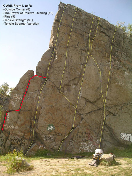 Rock Climbing Photo: Steve Marr posted a nice topo pic for K-Wall, but ...