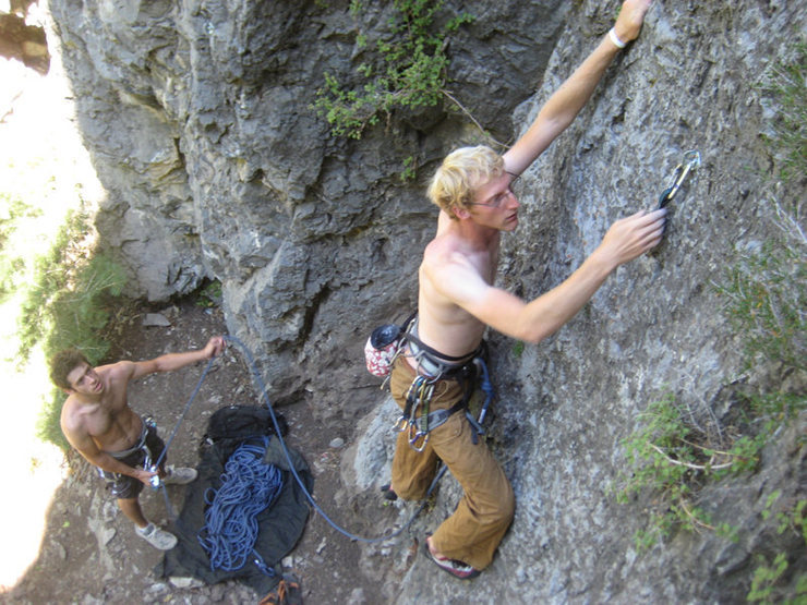 Rock Climbing Photo: Jonny Wilson, belayed by Tristan Higbee, on Call o...