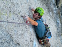 Rock Climbing Photo: Dustin on the crux picth of OZ