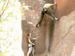 Rock Climbing Photo: Clipping stance for 1st bolt.