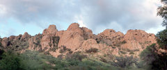 Panorama of the Trad Rock area just before sunset as seen from the campground.  8/15/08