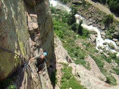 Rock Climbing Photo: Jordon Griffler on upper T2.  July 2008.