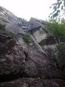 Rock Climbing Photo: Jon Finishing the Bottom Section on Lead