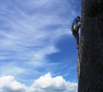 Rock Climbing Photo: Jon leading the hand crack at the top of Jack be N...