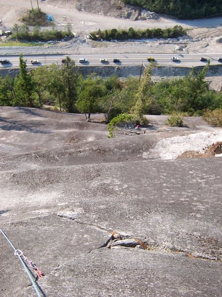 Undulating granite on Banana Peel's 3rd pitch. The best way to experience construction traffic.