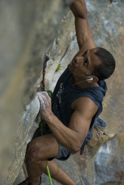 Rock Climbing Photo: Aryesh with his ritualistic Kenny G warm up on und...