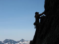 Rock Climbing Photo: Opening Moves on the Beckey Route, Liberty Bell