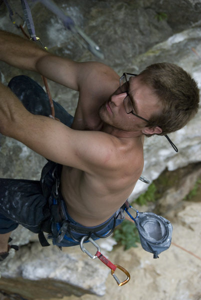 Rock Climbing Photo: RB killing it in style with his glasses strap.