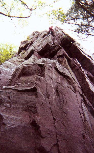 Picture of me after I made to the top. Taken of me while climbing at Devils Lake.