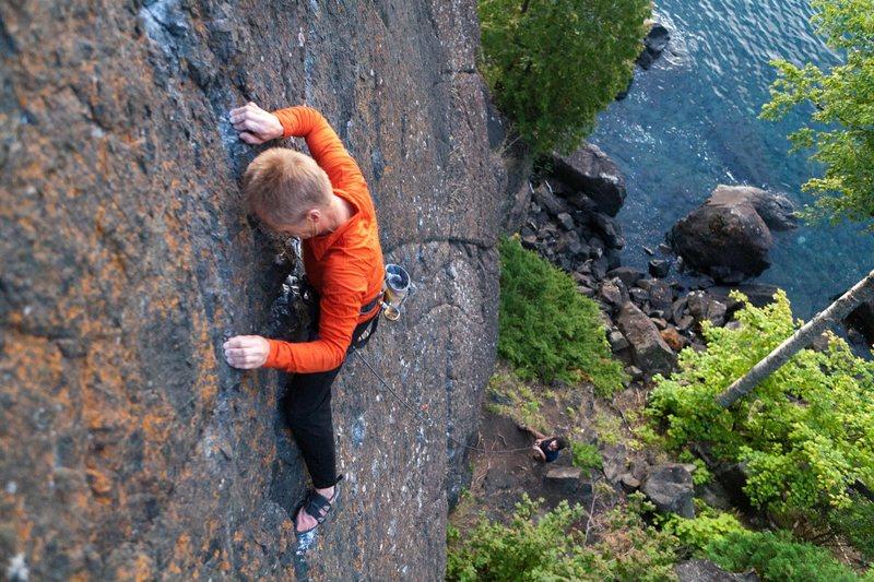 Rock Climbing Photo: Climbing The Pinnacle. Presque Isle, Marquette
