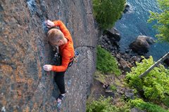 Rock Climbing Photo: Climbing The Pinnacle. Presque Isle, Marquette